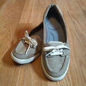 Keds Ortholite Tan Canvas Tie Loafer Size 6